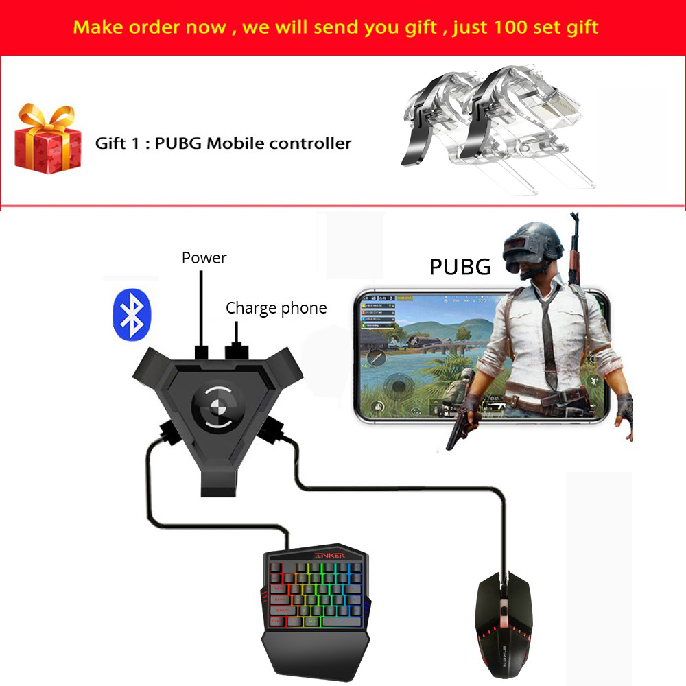PUBG Mobile Gamepad Controller Gaming Keyboard Mouse Converter For Android ios Phone IPAD Bluetooth 4.1 Adapter Free Gift(China)