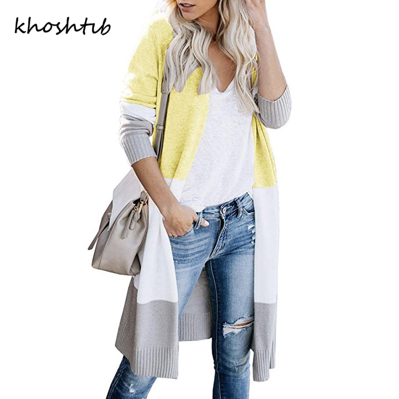Khoshtib Women's Sweater Cardigan New Fashion Temperament Autumn And Winter Sweater Three-color Striped Stitching Long Sweater