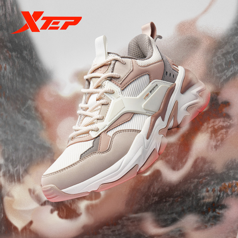 Xtep [Chinoiserie] Women Chunky Sneakers Mixed Color Autumn Outdoor Shock Absorb Women Casual Sport Shoes 880118320100
