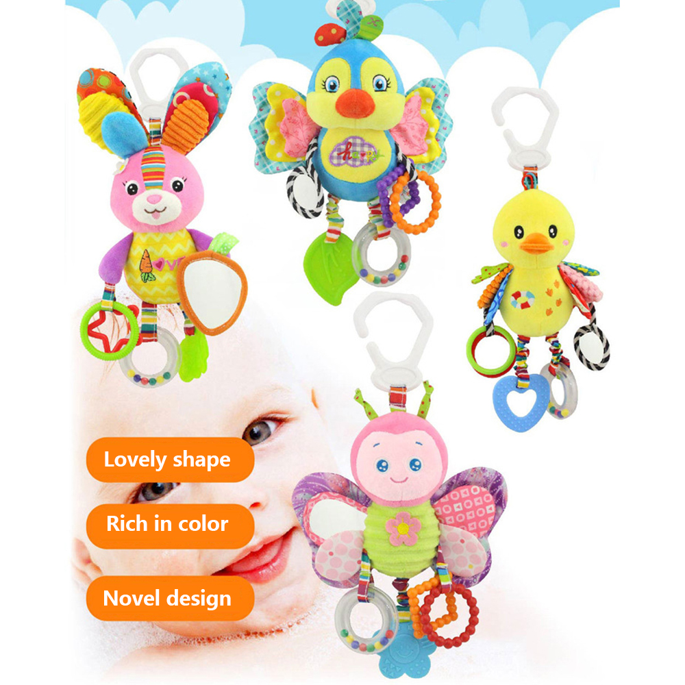 Mobile Rattles Toys For Infant Stroller Toys Stuffed Rattle Baby Care Toys 0-2 Years Cartoon Animal Rattle Bed Hanging