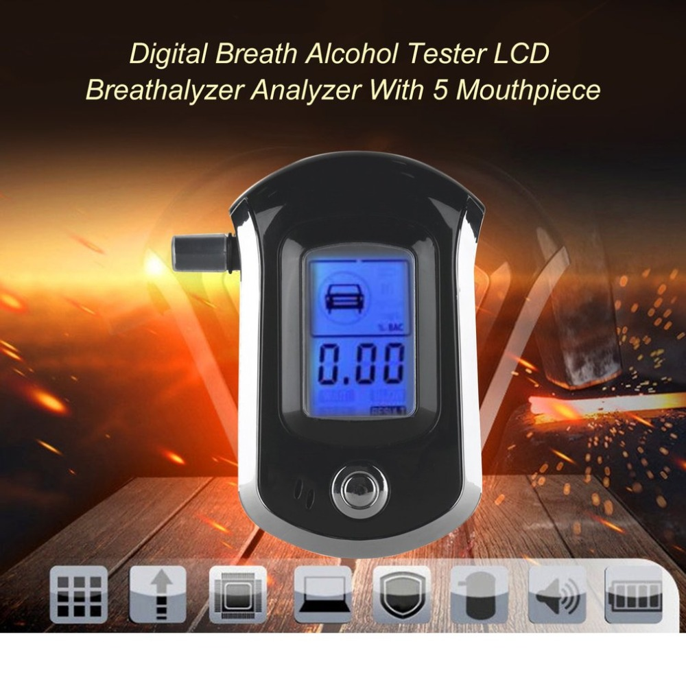 1pcs Professional Digital Breath Alcohol Tester Breathalyzer With LCD Dispaly With 5 Mouthpieces AT6000 Bafometro Alcoholimetro