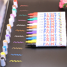 12 Colors Waterproof Pen Car Paint Marker Graffiti Oily Doodle Mark Photo Album DIY Scrapbook