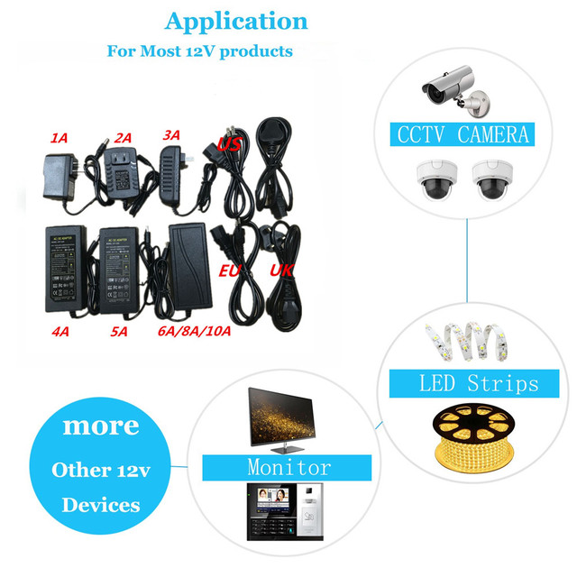 12V 1A 2A 3A 5A 6A 8A 10A AC DC Power Supply Adapter 110V 220V LED Driver Lighting Transformer for Flexible LED Tape Strip Light