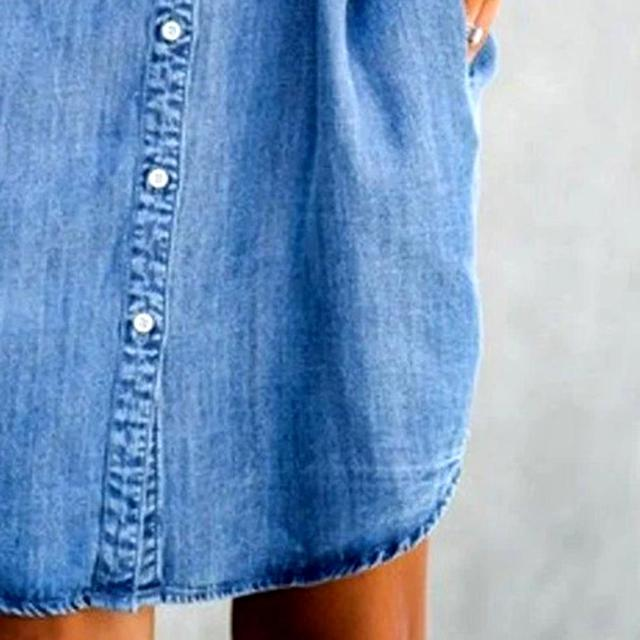 Women's Summer Fashion Solid Turn Down Neck Blue Jeans Denim Shirt Dress Short Sleeve Pockets Single-breasted Women's Jean Dress 6