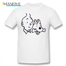 Tintin T Shirt And Milou Merchandise T-Shirt Man Graphic Tee Funny Cotton Basic Short Sleeves Plus size Tshirt