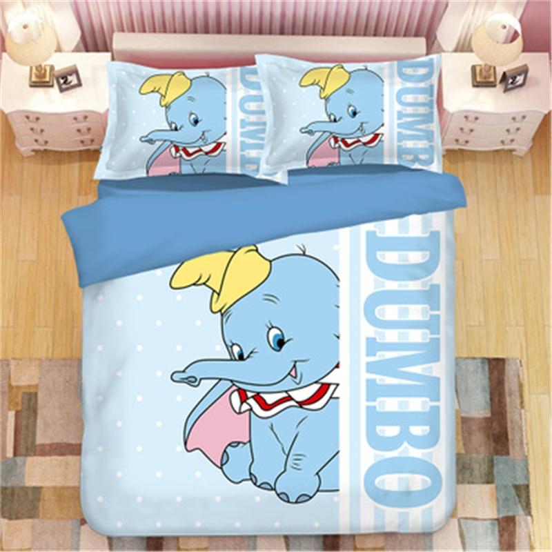 Disney Cartoon Dumbo Bedding Set Boy/Girl Baby Single Twin King Queen Kids Duvet Cover Set Pillowcases queen quilt blanket cover|Bedding Sets| |  - title=