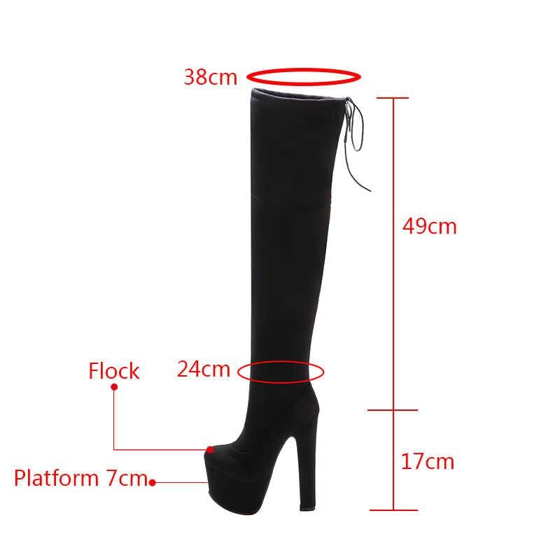 Rimocy kadın platformu üzerinde diz çizmeler seksi 17CM süper yüksek topuklu kırmızı rugan uzun çizmeler kadın 2019 kış siyah ayakkabı