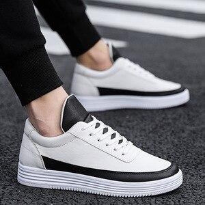Image 2 - Mężczyźni biały płaskie buty sznurowane wygodne skórzane Sneaker dla mężczyzn Tenis Masculino Adulto najwyższej jakości mężczyźni koreańskie buty nieformalne