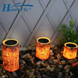 HoneyFly LED Solar Wooden Lamp IP65 Waterproof Garden Light Light Control Wooden Decorative Courtyard Lamp(China)