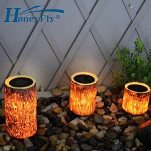 HoneyFly LED Solar Wooden Lamp Garden Light Wooden Decorative Courtyard Lamp IP65 Waterproof Light Control(China)