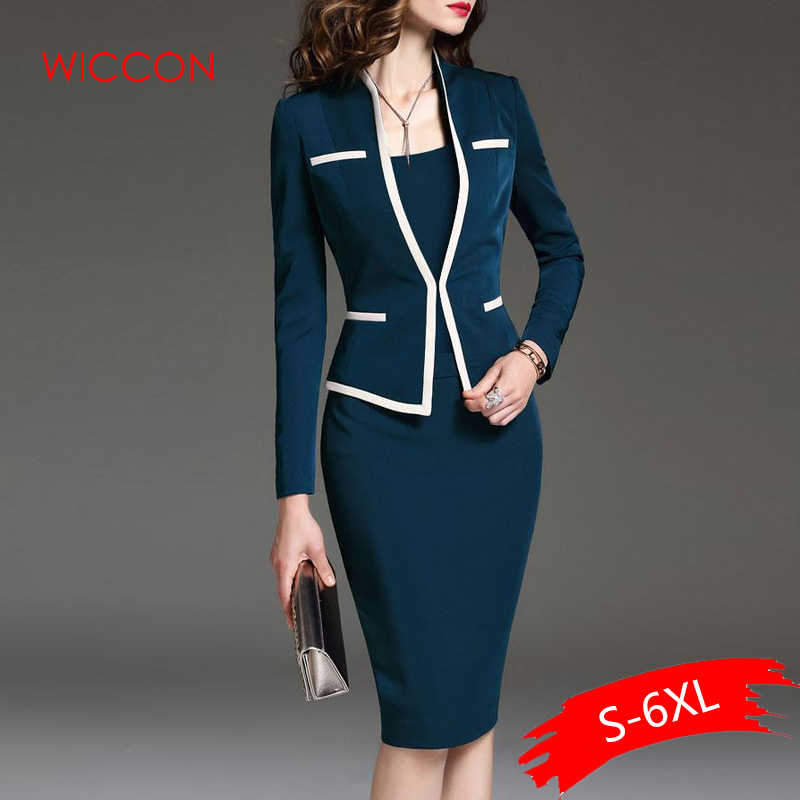 Women Suits Bodycon Dress Jacket 2 Pieces Set Office Wear Jacket Dress 2019 Spring Autumn Female Dress Suits Plus Size 6XL