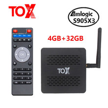 2020 nova tox1 amlogic s905x3 android 9.0 caixa de tv 4gb 32gb conjunto caixa superior 2.4g 5g wifi bluetooth 1000m 4k tvbox vs x96 max mais