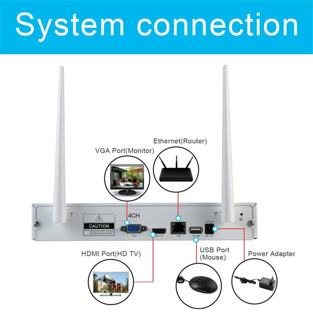 LESHP Wireless Security Camera System 4CH 960p Video Recorder NVR 4 X 1.3MP Wifi Outdoor Network IP Cameras With 1T HDD