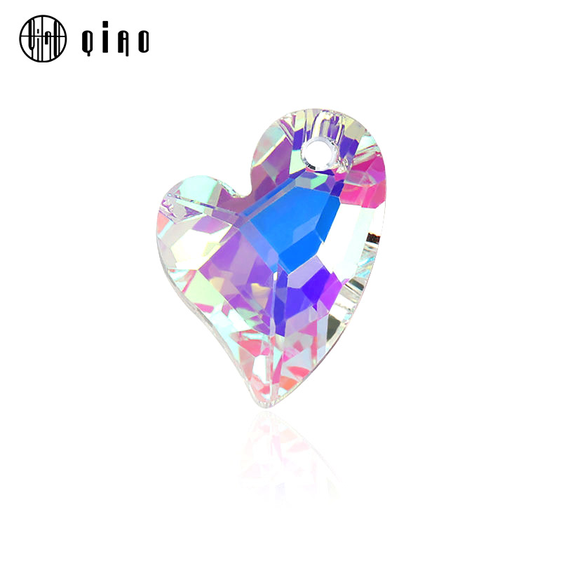 17mm 12pcs/pack crystal charms Devoted 2 U Heart Pendant 6261 glass heart shape beads rhinestone gem for Necklaces Earrings DIY