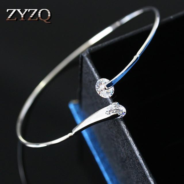 ZYZQ גבוהה באיכות אביזרי חתונה צמיד עם מבריק מסנוור קריסטל מעוקב זירקון אבן אופנה צמיד סיטונאי המון