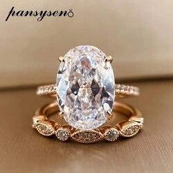 PANSYSEN-bagues en diamants pour femmes, bagues coupées radieuses, 9x13MM, Moissanite de laboratoire, ensembles en argent Sterling 925, couleur or Rose 18K