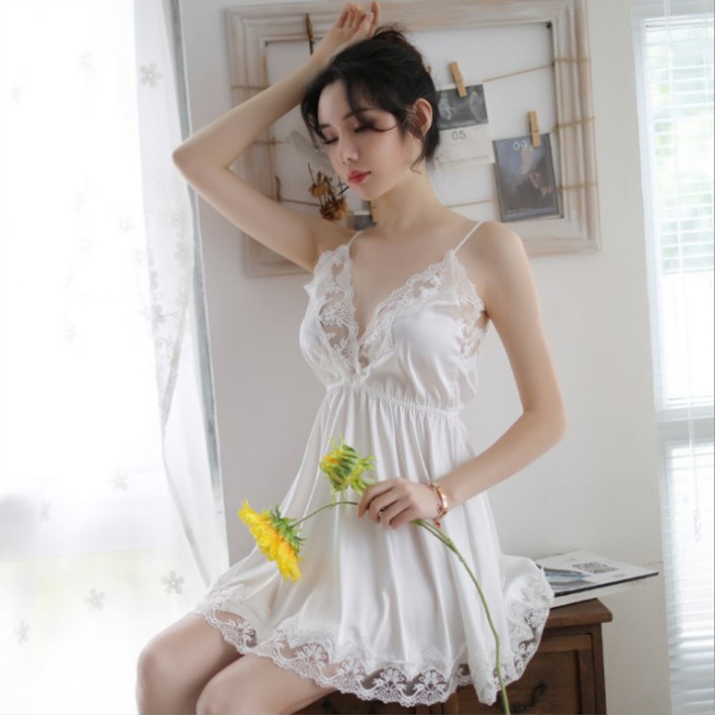 2020 High Quality Hot Sexy Lingerie Nightgown Underwear Lace Embroidery Seduction Women Nightwear Sling Back Cross Night Dress 10