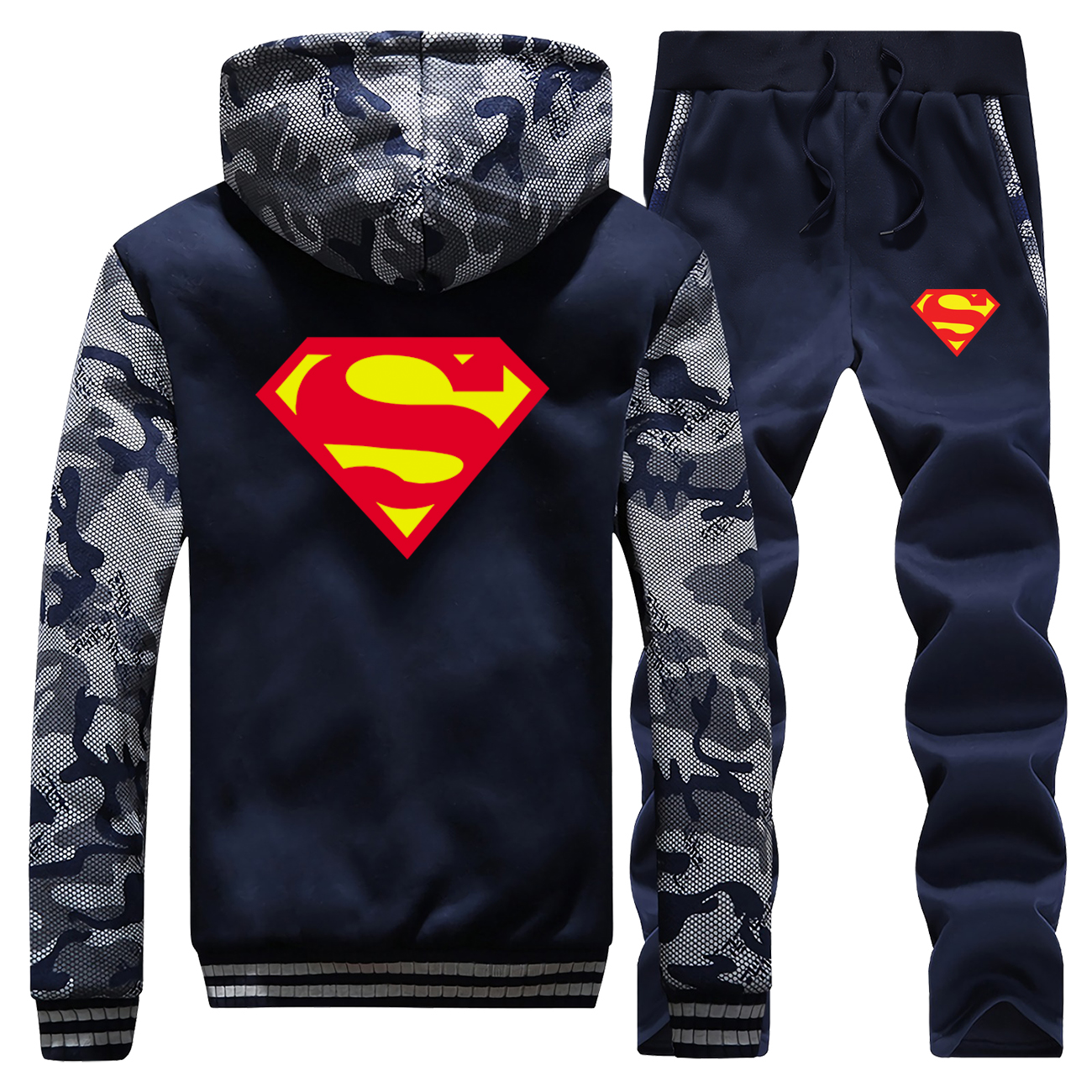 Winter Jacket+Pant 2PC Set Men Supreman Camouflage Sweatshirt Men Fashion Coat Thick Tracksuit Mens Hoodies Warm Suit Sportswear