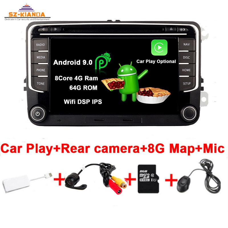 RNS 510 Car Play Android 9.0 Car <font><b>radio</b></font> for <font><b>VW</b></font> golf 5 6 <font><b>Touran</b></font> Passat B6 CC Jetta polo Tiguan Magotan DVD GPS Multimedia Player image