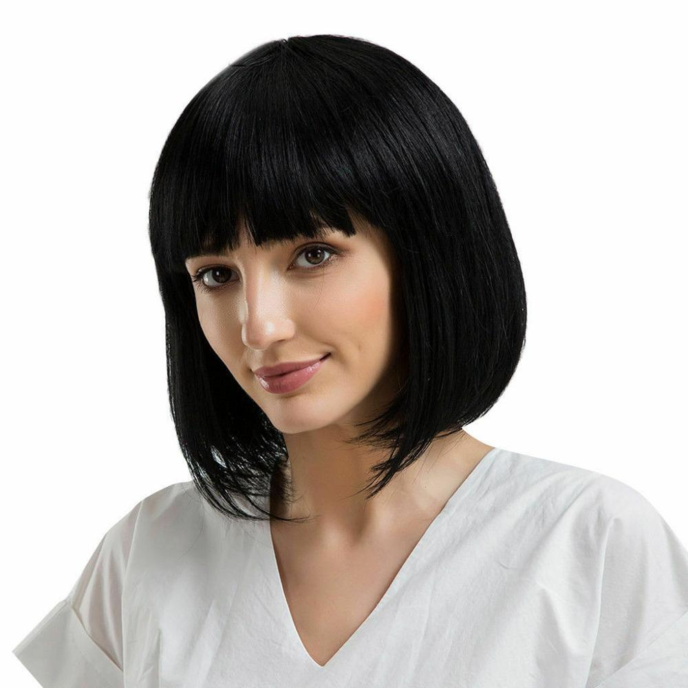 IVogue Short Human Hair Bob Wig With Bangs Brazilian Remy Human Hair Straight Glueless Full Lace Wig With Bangs Natural Black