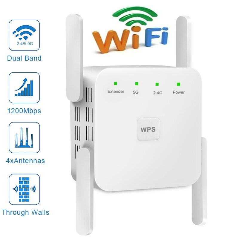 WiFi Repeater Wireless Wifi Extender 2.4G 5G Wireless WiFi Booster 300Mbps 1200Mpbs 5ghz WiFi Signal Long Range Wi-Fi Amplifier
