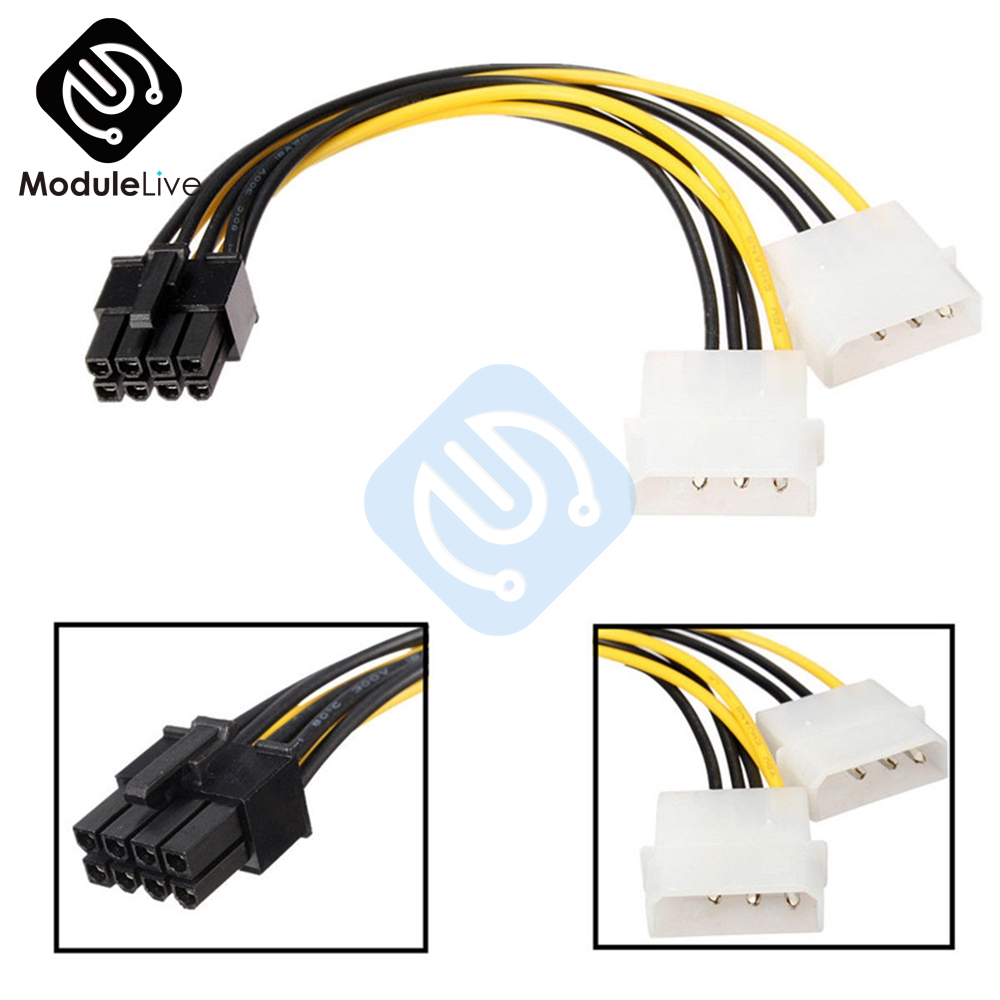 Dual Molex LP4 4 <font><b>Pin</b></font> to <font><b>8</b></font> <font><b>Pin</b></font> <font><b>PCI</b></font>-<font><b>E</b></font> Express Converter Adapter Power Cable Wire Connector Line Tools image
