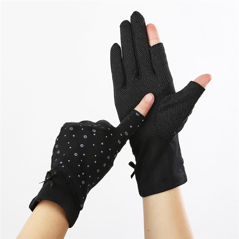 Howfits Spring Summer Driving Gloves Women Sunscreen Half Finger Fingerless Sun Against Girls Thin Cotton Floral Car Mittens