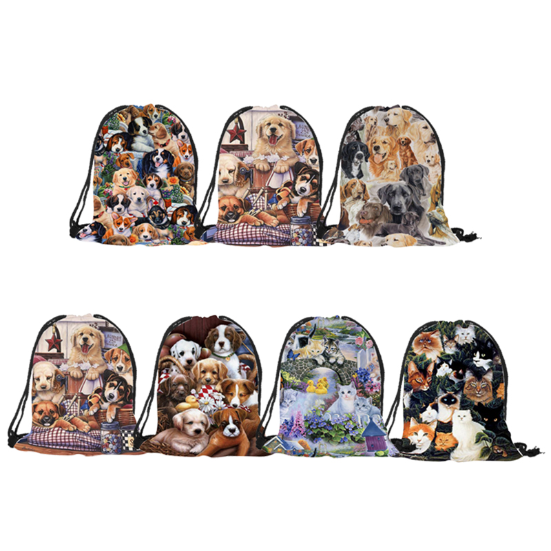 Pretty Hot Animal Pattern Casual Backpack Golden Retriever Labrador Cat Print Shoulder Bag Washable Durable Multi-function Bags