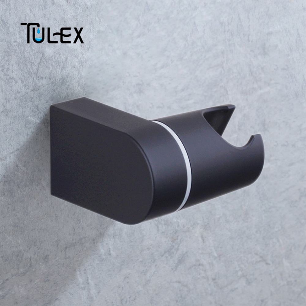 TULEX Shower Head Holder Bracket Stand 2 Position For Bathroom Use Standard Size Bathroom Accessories Matt Black ABS Plastic
