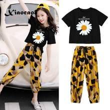 Teenage Girls Clothing Kids Summer Two Piece Set Black Short Sleeve t shirts +Loose Pants Toddler Big Girls Clothes 6 8 10 12 14