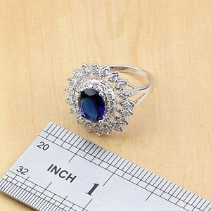 Image 5 - Naturalny owal niebieskie z cyrkonią biały CZ srebro 925 zestawy biżuterii dla kobiet Party kolczyki/wisiorek/naszyjnik/pierścionki/bransoletka Dropshipping