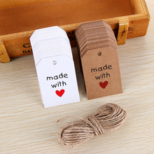 50PCS Romantic Love Paper Tags Made with Love Card Labels DIY Kraft Hang Tag Gift Wrapping Supplies Wedding Favors hot sale