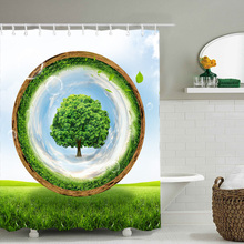3D grassland green tree polyester printed bathroom shower curtain waterproof and mildew comes with 12 hooks 4 sizes optional christmas log cabin snowmen tree printed shower curtain