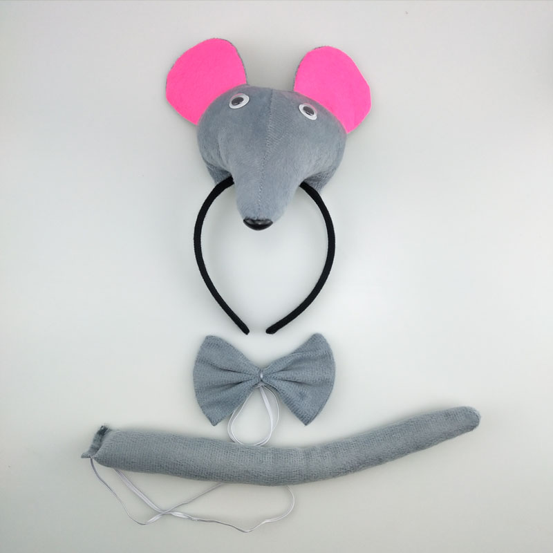Halloween Rat Mouse Headband Bow Tie Tail Animal Costume Cosplay Performance Accessories Children Party Dress Up Props Christmas