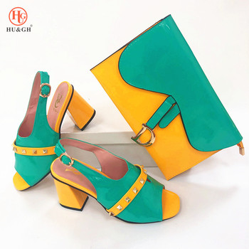 Green Color Italian Shoe with Matching Bags High Quality African Shoe and Bag Set for Party In Women Nigerian Wedding Sandals