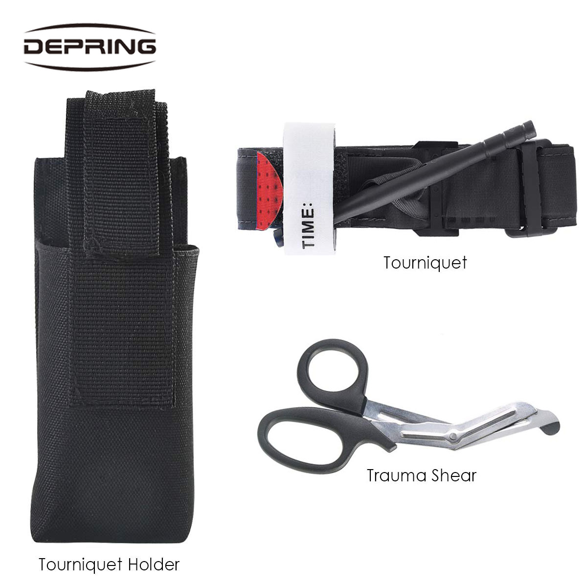 One Hand Tourniquet Trauma Shear Molle Pouch First Aid Kit For Car Vehicle Outdoor Camping Hiking Hunting  Survival Equipment