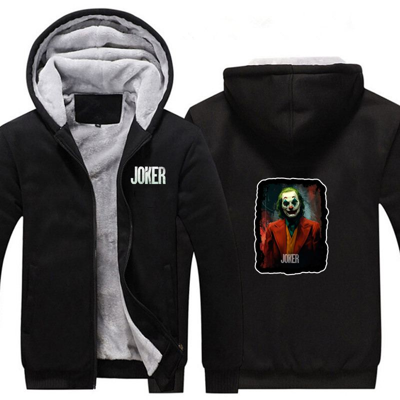 New Movie Supervillain Joker Thicken Hoodie Sweatshirts Cosplay Costume Anime Winter Warm Coat Hooded Men Adult Clothing