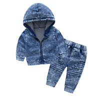 New Arrival Autumn And Spring Long Sleeve Children's Hooded Knit Denim Suit Boy's Clothing Sets Toddler Tracksuit Sets