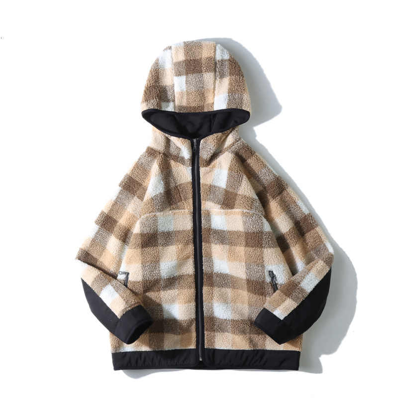 Pendek Musim Dingin Mantel Hangat Tebal Fashion Kasual Kotak-kotak Hooded Mantel Pria Streetwear Liar Longgar Fleece Jaket Parka Pria m-2XL
