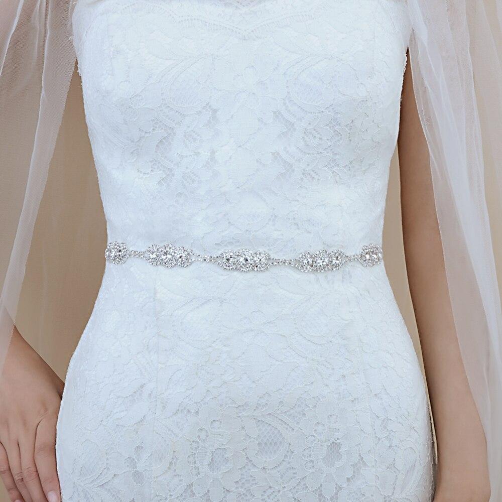 TRiXY S215 Crystal Wedding Belts Silver Rhinestone Wedding Dress Belt Formal Bridal Sash Bridal Belt Wedding Dress Accessories