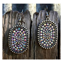 Vintage Women Earrings Colorful Crystal Geometry Pendant Silver Stud Earring Set Temperament Lady Dance Party Jewelry(China)
