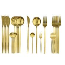 Couverts dorés en acier inoxydable, 6 fourchettes à gâteaux aux fruits, service de vaisselle de cuisine, service de vaisselle, argenterie, 30 pièces