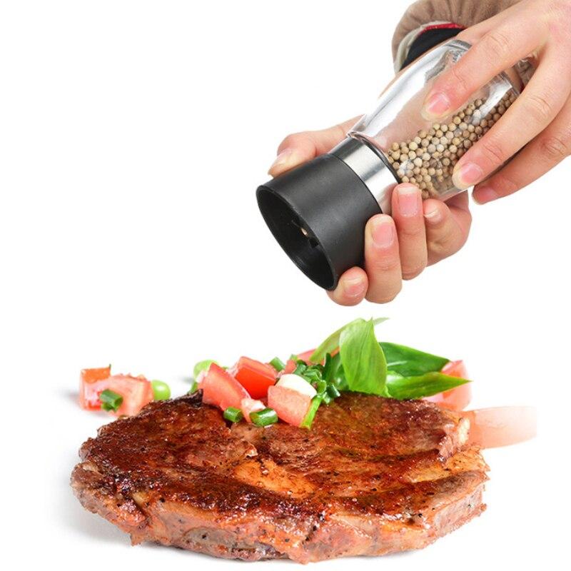 Hot Sale Creative Stainless Steel Milled Salt Pepper Coffee DIY Manual Bottle Grinder Glass Kitchen Tool Pepper Grinding