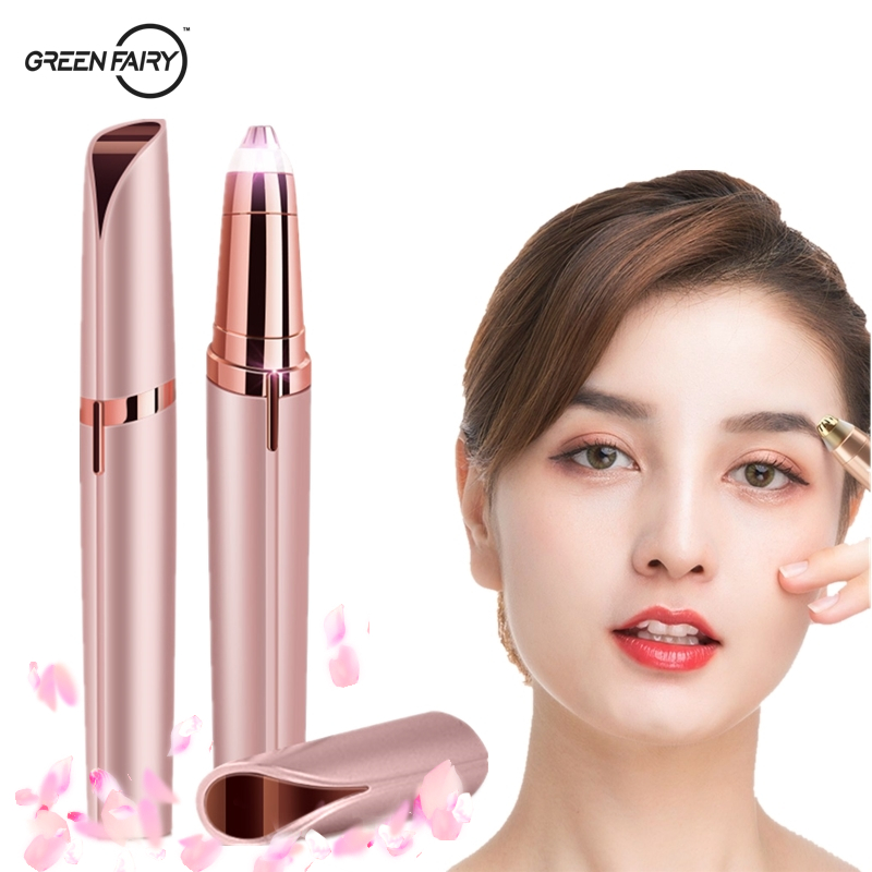 Greenfairy Electric Eyebrow Trimmer Facial Hair Removal Epilator Hair Remover For Brows Mini Shaver Painless Eyebrow Epilator