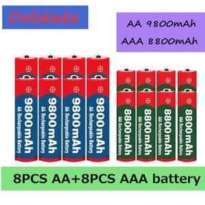 AA+AAA battery 1.5V AA 9800 mAh+1.5V AAA 8800 mAh Alkaline1.5V Rechargeable Battery For Clock Toys Camera battery