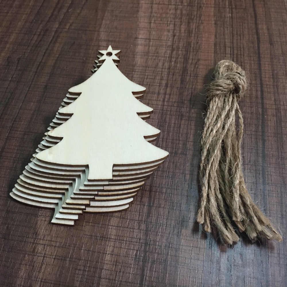 Décorations de noël ornements pour la maison 10PC bricolage pendentifs en bois décorations de noël pour arbre cadeaux de noël pour 2020 an, Q