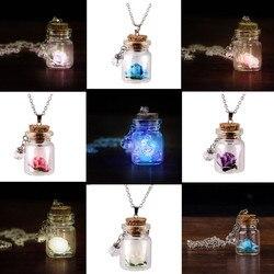 Glow in the Dark Flower Glass Tiny Wishing Bottle Vial Necklace Pendant Chain necklace for women украшения 2021 бижутерия