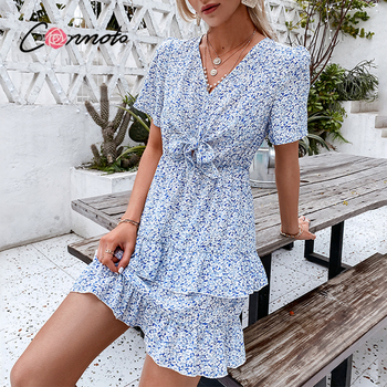 Conmoto Blue Printed Puff Sleeve Knotted V-neck Ladies Dress Fashion Summer Women A-line Sundress 2021 Casual outfits Vestidos 1