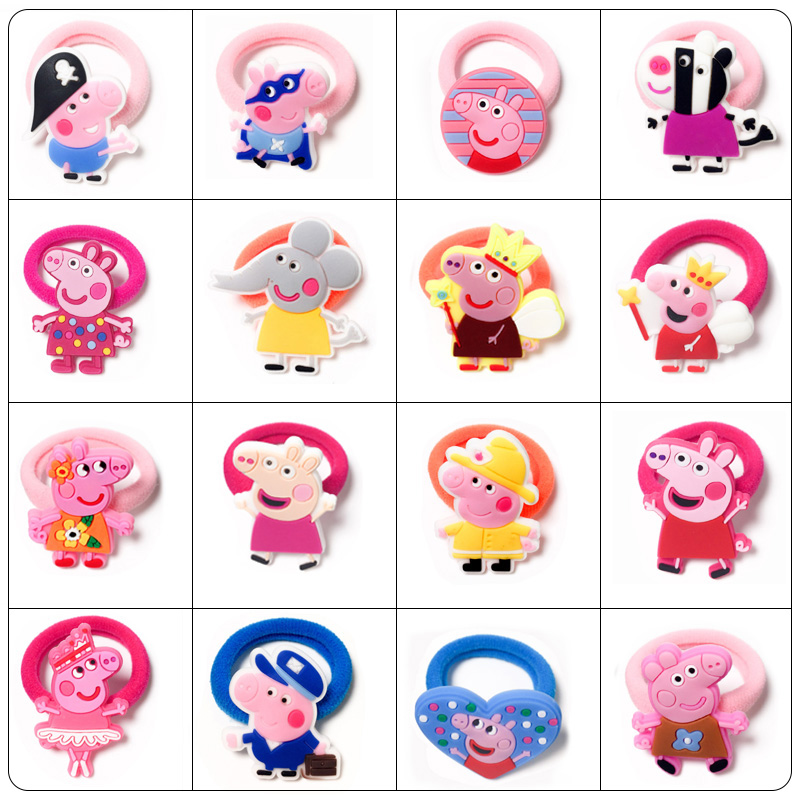 Peppa Pig Cartoon Hairline Headband Girl Headdress Rubber Band Hair Rope High Elastic Seamless Hair Ring Children's Gift Toy