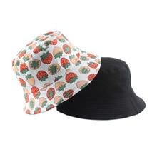 Wiosna lato kobiety mężczyźni bawełna kapelusz wędkarski czapka w stylu Hip-Hop truskawka Panama kapelusz typu Bucket słońce płasko zakończony rybak kapelusze czapki Boonie prezent